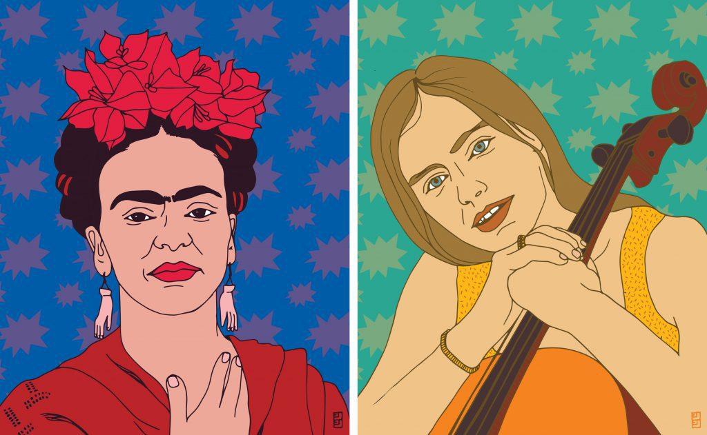 Heroines-Frida-Kahlo-Jacqueline-du-Pre-Lulu-Kitololo-Studio-1024x631